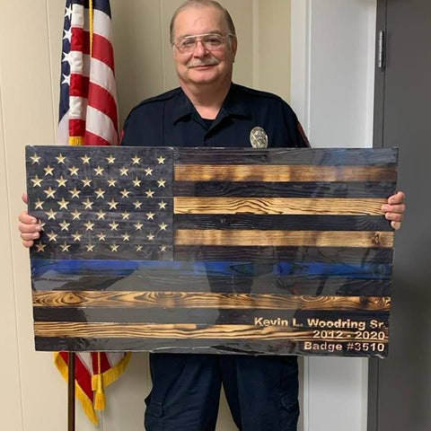 Thin Blue Line Flag Wood American Rustic Wooden Flags Canvas Wall Art Handcrafted by USA Veterans at Etherton Hardwoods.
