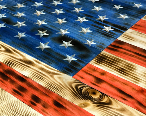 Rustic Wooden American Flag VIVID Lady Liberty Wood Flags USMC Veteran Owned Business Carved Stars