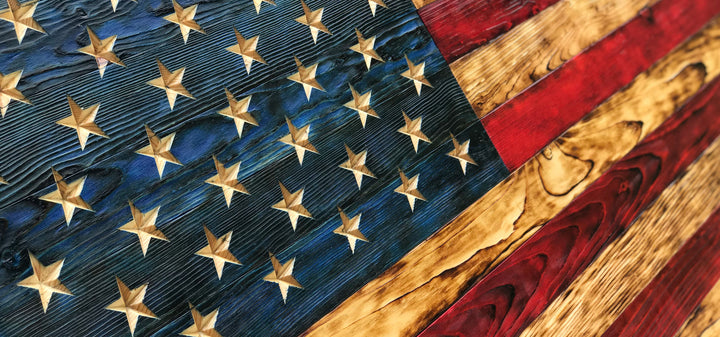 Rustic Wood Flag Hand Carved Stars Made in America by Veterans with PTSD Gifts for Him Thin Red Line Flag