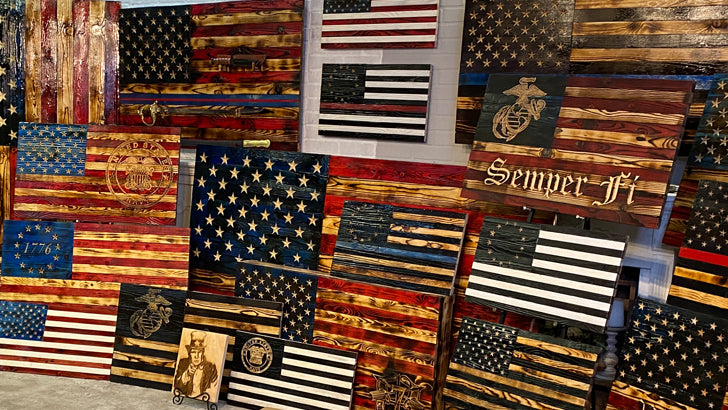 Wooden American Flags with carved wood stars handcrafted by USMC Veterans at Etherton Hardwoods. All Wood USA Flags are Made in the USA