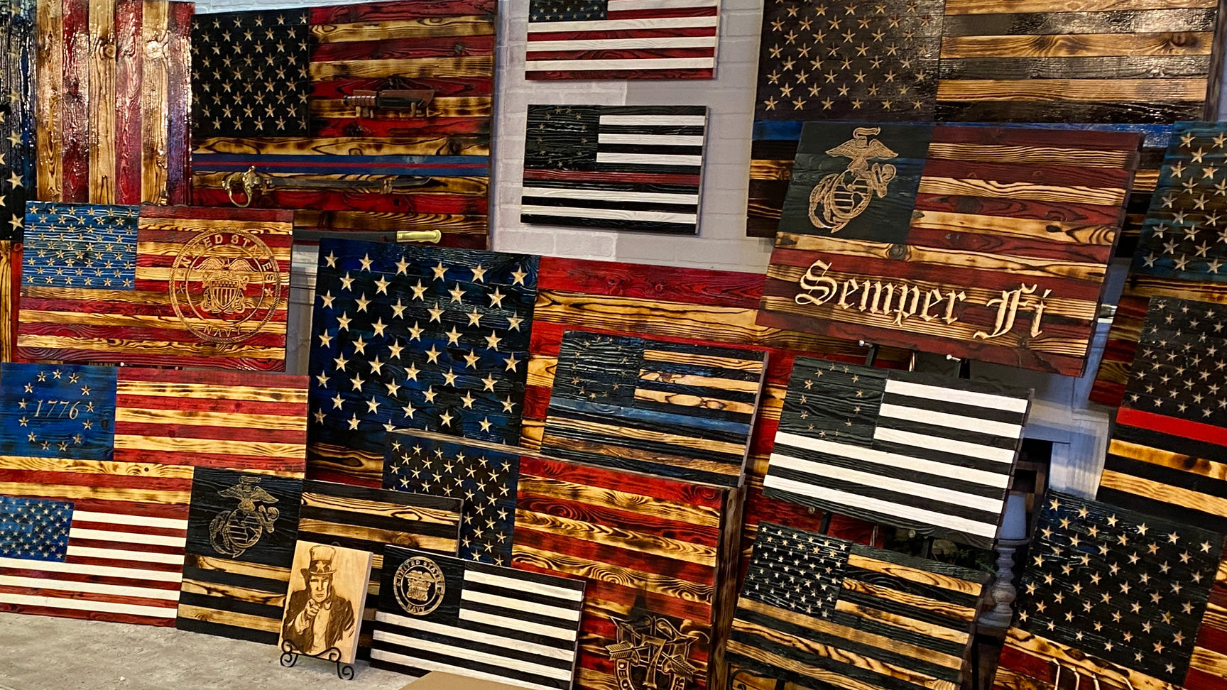 Wooden American Flags Rustic Carved Wood Flag Made by Veterans with PTSD at Etherton Hardwoods