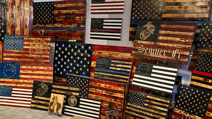 Hand Carved Wooden USA Flag Buy Wood Flags Veteran Owned Business at Etherton Hardwoods Made in the USA