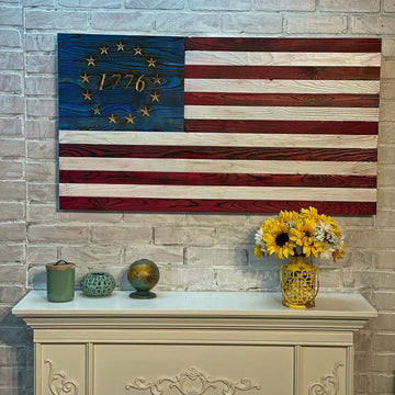 Betsy Ross 1776 Wooden American Flags USMC Veteran Made in the USA.