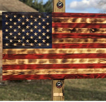 (3XL) Charred VIVID SERIES (60 x 36) wooden American Flag - Rustic Wooden American Flags