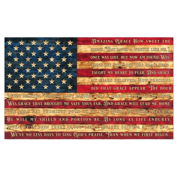 Amazing Grace Wooden American Flag hand carved by Etherton Hardwoods on there World Famous Wooden signature style flag.