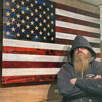 Wood Flag USMC Veteran Made