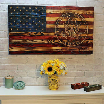 U.S. Coast Guard Wooden American Flag with Carved USCG logo on right side Veteran Made Etherton Hardwoods