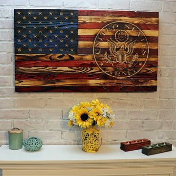 United States Army Custom Carved Wooden American Flag Signature Style by Etherton Hardwoods Made by Veterans with PTSD
