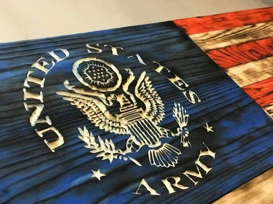 Hand Carved - Charred NATURAL GRAIN American Flag (signature series) - US Army Version - US Army