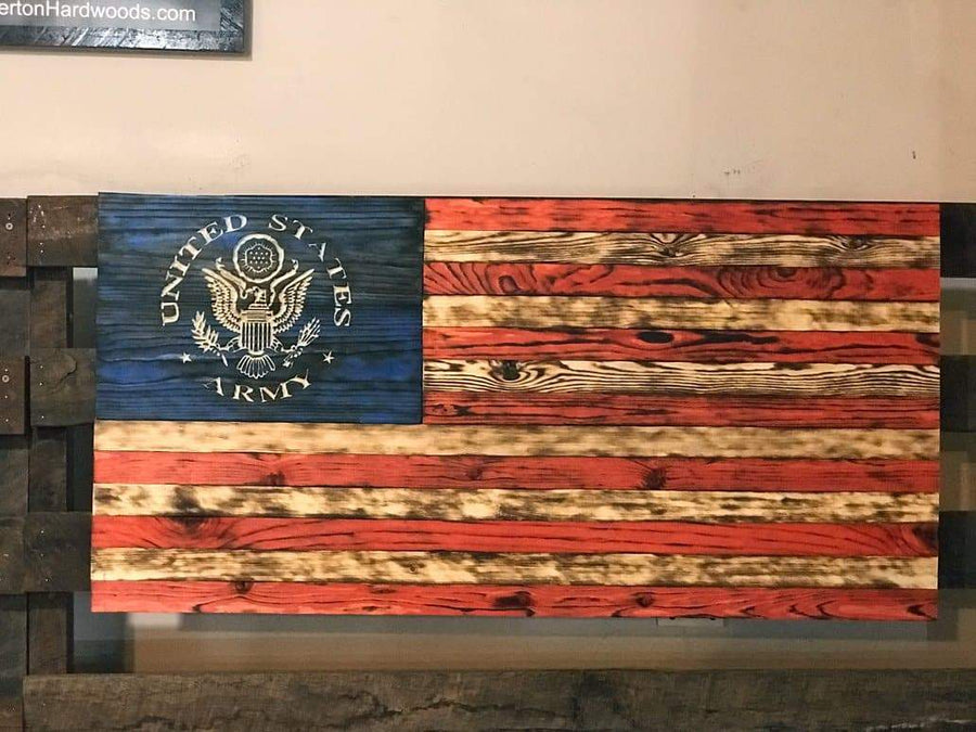 US Army Wooden American Flag Signature Series made by Etherton Hardwoods USMC Veterans