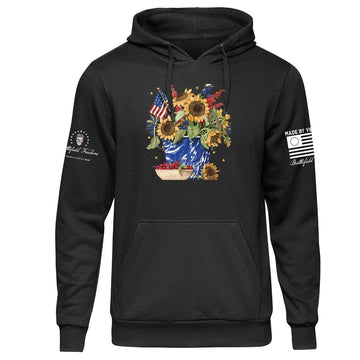 Patriotic Flower Bucket Hoodie Made by Veterans in the USA by Veterans at Battlefield Freedom Military T-shirts Patriotic Shirts USMC Clothing Military Clothes Gruntstyle Custom Gear Patriotic Appareal