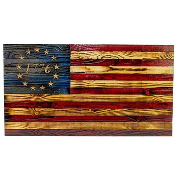 Betsy Ross 1776 Wood Flag - Rustic Signature Heritage Wooden American Flag handcrafted by USMC Veterans at Etherton Hardwoods