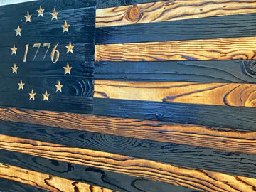 Betsy Ross 1776 Wooden American Flag Veteran Made with carved stars distressed style