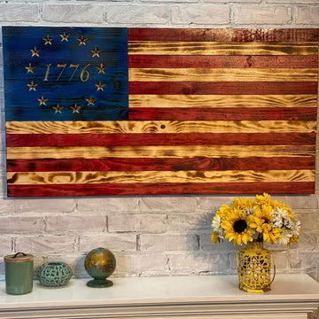 Betsy Ross 1776 Wooden American Flag - Made by Etherton Hardwoods by USMC veterans in the USA
