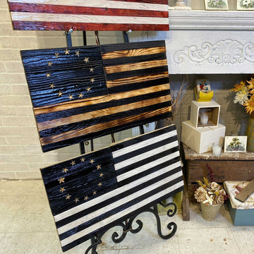 Betsy Ross Blacked Wood American Flag Historic Wall Art.