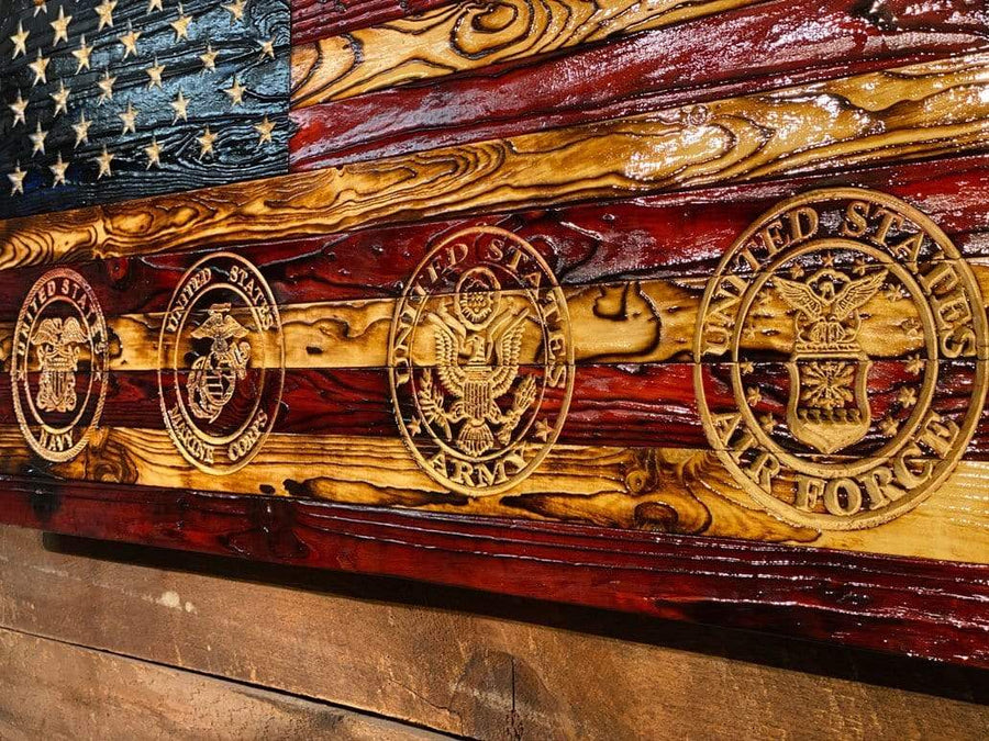 Wooden American Flags Heritage Signature Carved All Military Branches