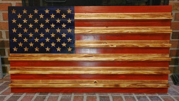 Challenge Coin Holder - Wooden American Flag - Carved Stars Veteran Made at Etherton Hardwoods