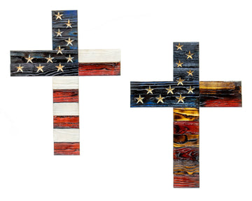 Cross Wooden American Flag carved stars rustic wood wall art