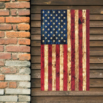 Vertical Wooden American Flag made by Etherton Hardwoods in there World Famous Signature Series Wood Flag style.