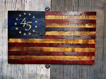 Donald J. Trump 45th President Signatures Series Betsy Ross Wooden Charred American Flags made by Etherton Hardwoods in Worden IL USA