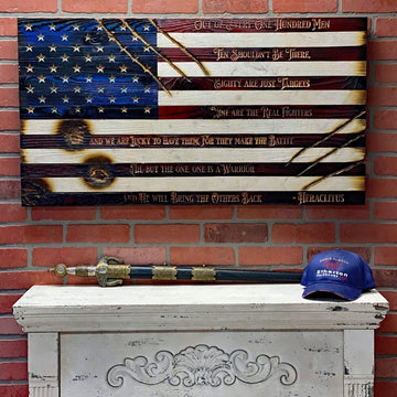 Extreme! Battlefield Worn - Limited Edition Flag - Hand carved warrior quote by Heraclitus handmade by USMC veterans in the USA. Are you tough enough to handle this flag?