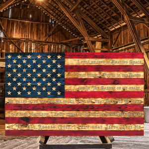 Gospel Hymn Charred Wooden American Flag made in a rustic signature style by Etherton Hardwoods by USMC veterans in America