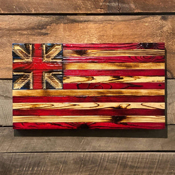 Grand Union Wood Flag - First American Flag of the United States made by USMC Veteran Owned Etherton Hardwoods
