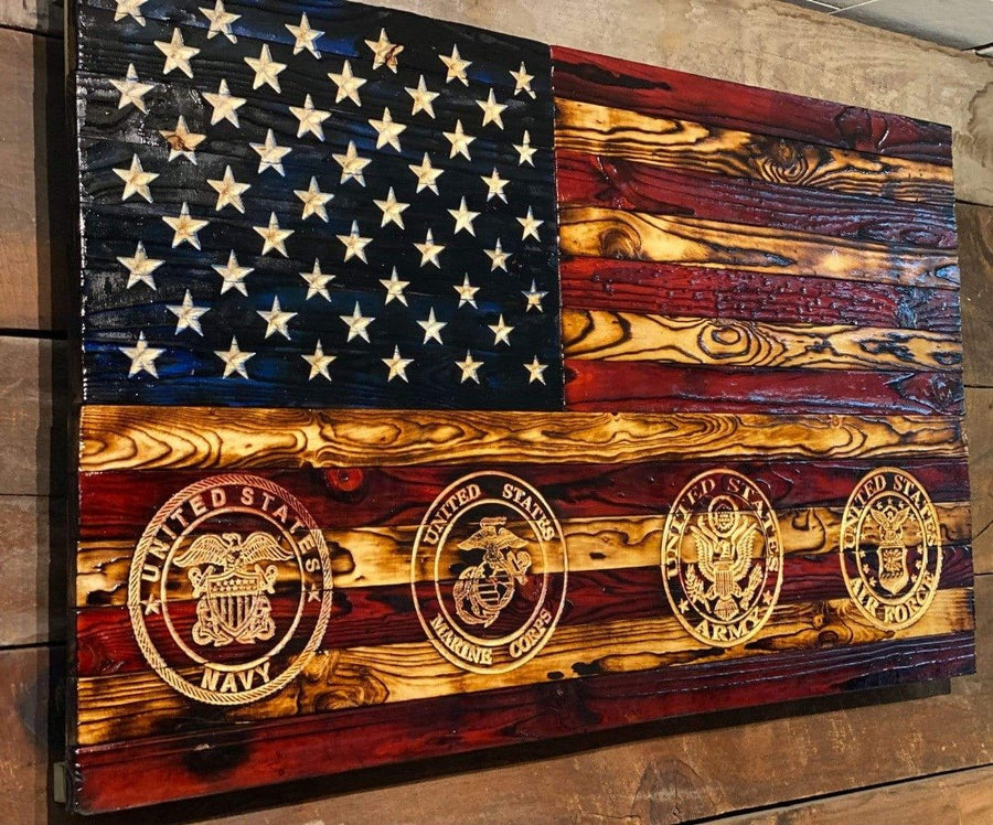 All Military Branches - Wooden American Flag - Signature Carved