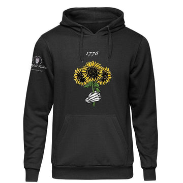 Hoodie with 1776 Sunflower Design and Skull Hand Battlefield Freedom the Patriotic Lifestyle Brand