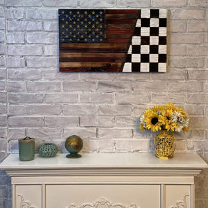 Nascar Racing Wooden American Victory Lane Flag. Signature Series Heritage flag made in USA by Veterans with PTSD.