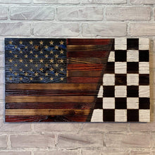 SPLIT Signature Series Wooden American Flags with right side of the Rustic Wood Flag has the Nascar Victory Racing Checkered Race winners flag. Hand Carved Wood Stars. USMC Veteran Own Small Business