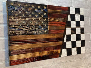 Rustic SPLIT Wooden American Flags and the Nascar Checkered Victory Lane flag. American Made by combat veterans at Etherton Hardwoods in Worden, IL. The American Worker still matters.