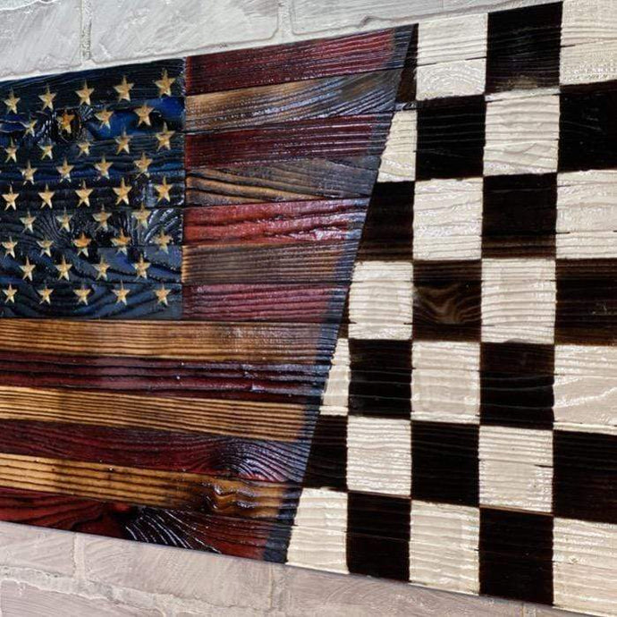 Nascar Checkered Flag and the American Wood Flag all in one Heritage work of art. Rustic Farmhouse made by USMC Veteran in the USA.