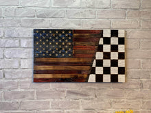 Nascar Racing Victory Checkered SPLIT Wood USA Flags - Signature Series