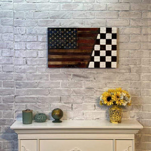 Victory Lane Racing Nascar Checkered Flag and the American flag made by USMC veterans in the USA. Hand Carved Stars are the perfect touch for this Heritage Home Decor.