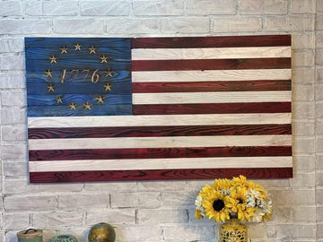 Betsy Ross 1776 Wooden American Flag Custom Gifts for Veterans Historical Wall Art Home Decor