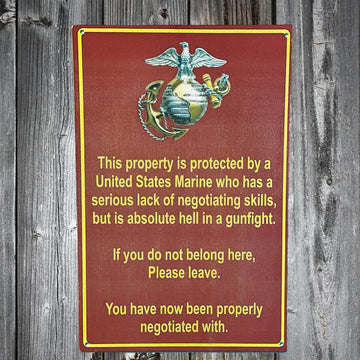 USMC Marine Corps Property Warning Sign Wood Print Design by Battlefield Freedom Made by Veterans in the USA