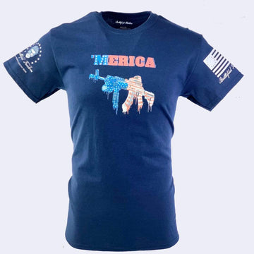 'Merica AK47 American Flag - Patriotic T-Shirt - Veteran Owned Business - Battlefield Freedom