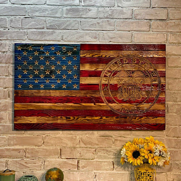 United States Navy Wooden American Flag Signature Series