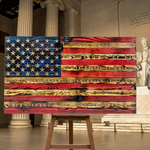 Pledge of Allegiance Carved Wooden American Flag Made by Veterans