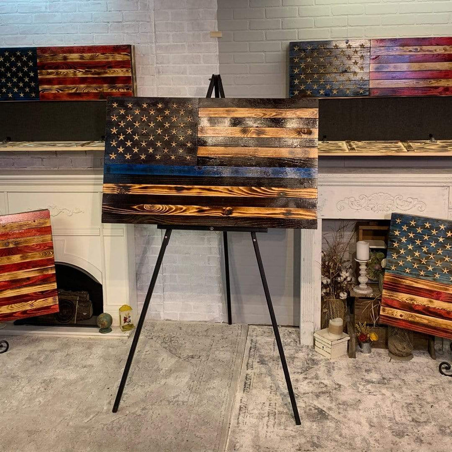 Thin Blue Line Hidden Compartment Wall Display Subdued Wooden American Flag Etherton Hardwoods Flags of Valor Vet Owned Business