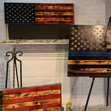 Thin Blue Line Hidden Gun Safe Wall Display Wooden American Flag Distressed Subdued Veteran Made Etherton Hardwoods