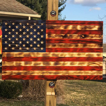 Rustic Wooden American Flag VIVID burn Light Charred Wood. Veteran Made.