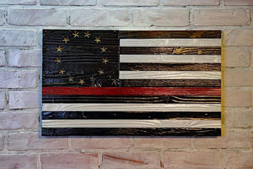 Thin Red Line - Betsy Ross - Americana - Blacked - Wooden American Flag in tribute to our hero firefighters and first responders. Made by USMC Veterans in the USA! Etherton Hardwoods can customize any fire department wood flag.