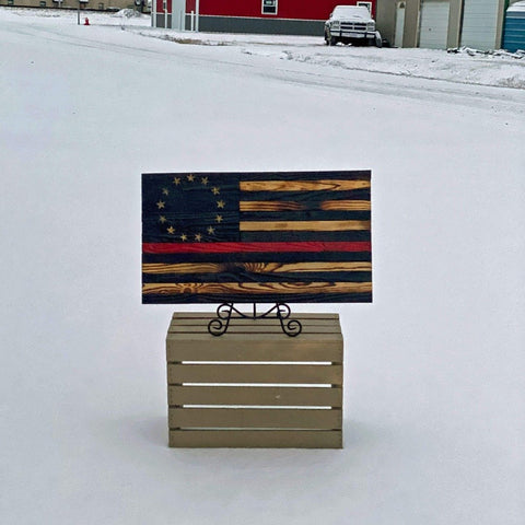 Wooden American Flags - Thin Red Line - Betsy Ross Wood Flag Collection