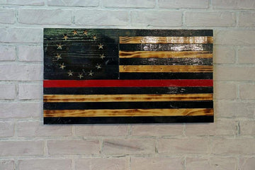 Thin Red Line - Betsy Ross - Blacked - VIVID - Wooden American Flag is the perfect home decor gift for dad. Made in the USA by USMC Veterans with PTSD. Firefighters are heroes and Etherton Hardwoods is proud to back our great First Responders. Each Red Line Flag can we custom carved with any design.