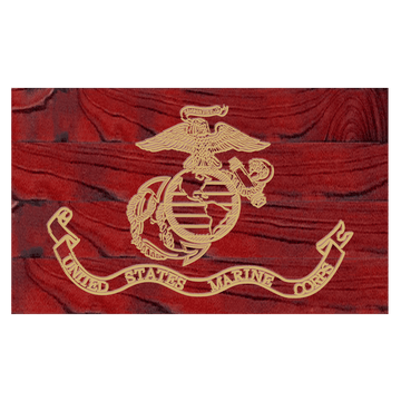 Marine Corps Flag hand carved into Rustic Wood made by USMC Veterans at Etherton Hardwoods