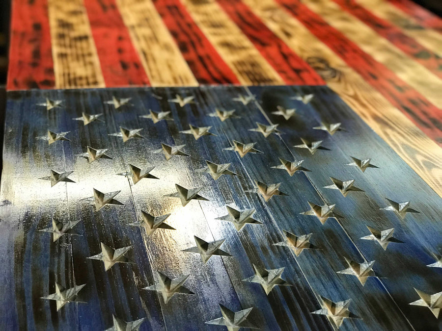 VIVID Series Wooden American Flag made by Veterans in the USA gifts for dad