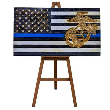 Subdued Thin Blue Line VIVID Americana Eagle Globe and Anchor USMC carved Thin Blue Line Wood Flag