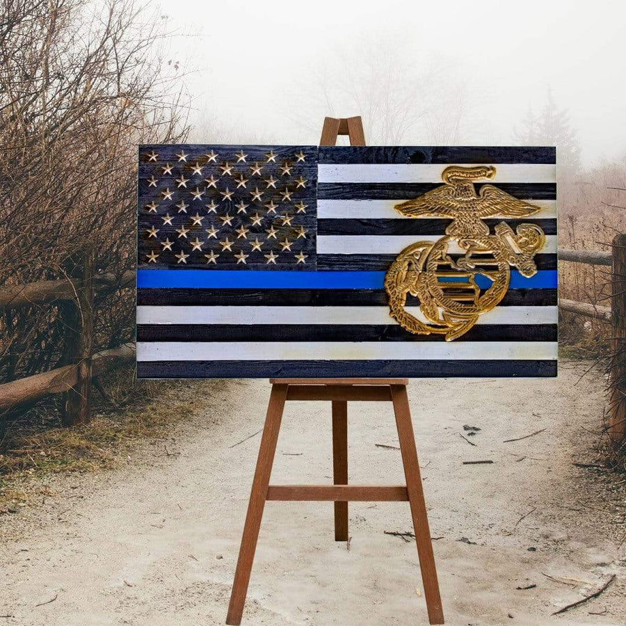 Subdued United States Marine Corps Thin Blue Line Military Police Vivid Americana Wooden Flag